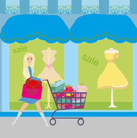 storefronts: Woman pushing shopping card