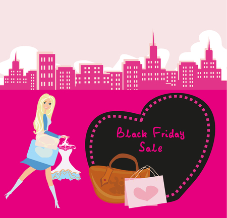 shopping sale: Shopping woman - Black Friday Sale card
