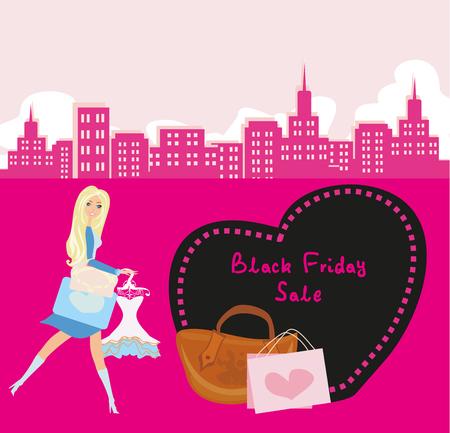 shoptalk: Shopping woman - Black Friday Sale card