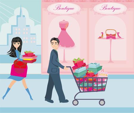 storefronts: couple on Christmas shopping