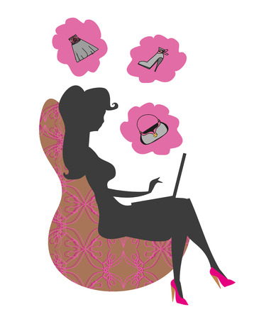 laptop silhouette: silhouette of beautiful woman with laptop
