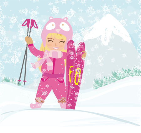 swiss alps: Girl with skis Illustration