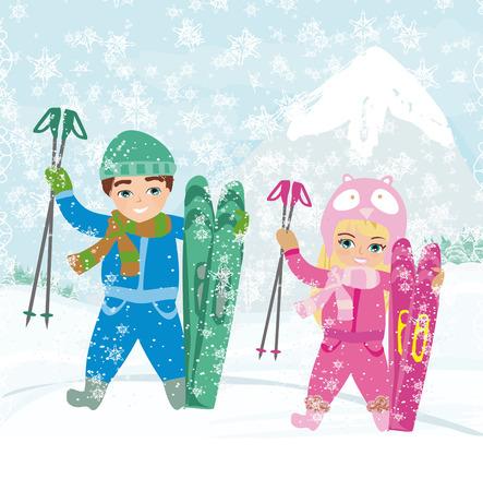 swiss alps: children skiing