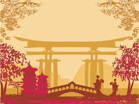 Geisha silhouette at sunset
