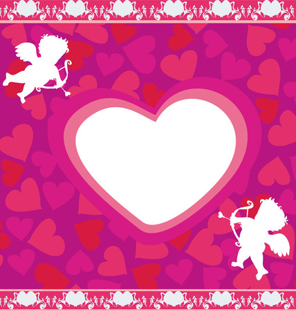 cupido: happy valentines day - card with cupids Illustration