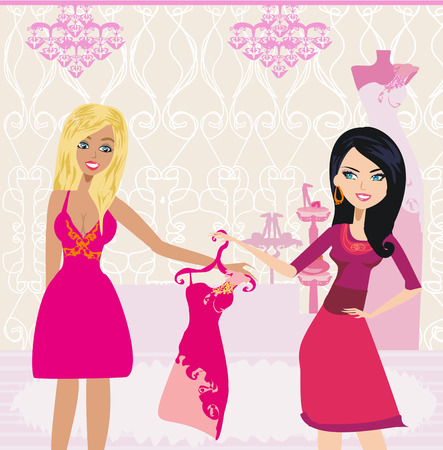 fashion girl Shopping illustration Illustration