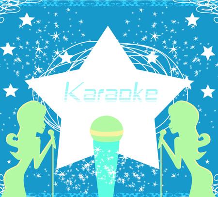 Karaoke party invitation poster design template. Illustration