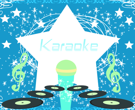 banner with microphone - karaoke party design Illustration