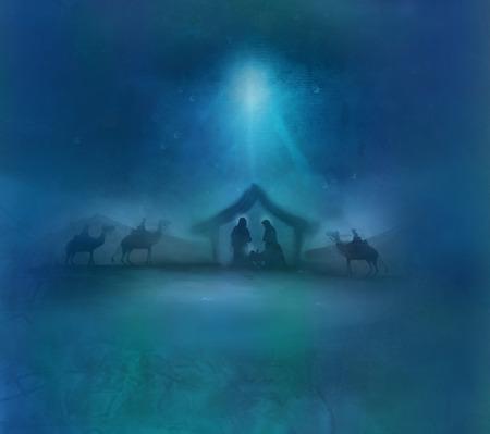 성경 현장 - 베들레헴에서 예수님의 탄생. 스톡 콘텐츠