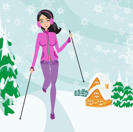 Nordic walking - active woman exercising in winter