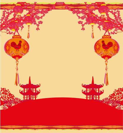 auspicious sign: year of rooster - New Year card Illustration