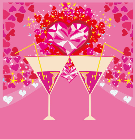 wedding reception decoration: Valentines day background with champagne and hearts Illustration