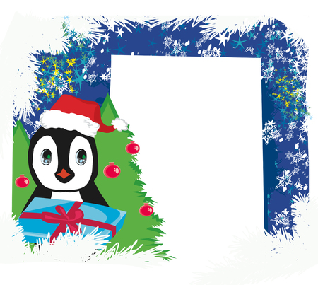Cute penguin with gift box