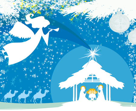 Christmas religious nativity scene Illustration