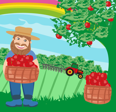 plow: farmer with a basket of apples