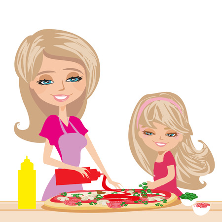 mother with daughter preparing pizzas Illustration