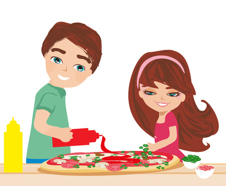 Children prepare pizzas