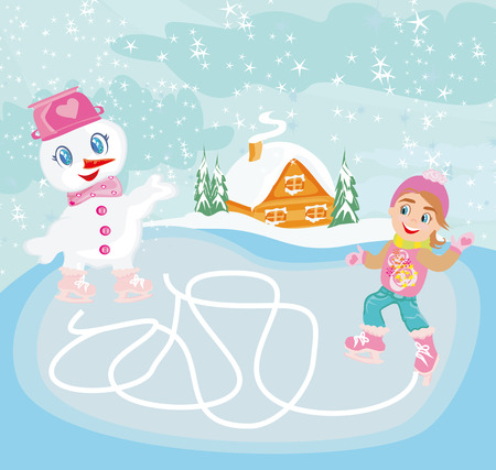 hat new year s eve: ice skating in the winter day - Maze game for kids