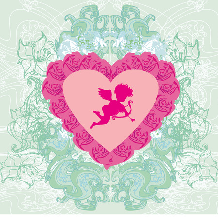 cupido: valentines frame with a sweet cupid and beautiful roses