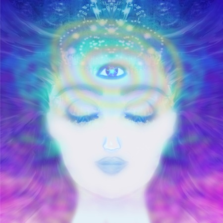 ascendant: Woman with third eye, psychic supernatural senses  Stock Photo
