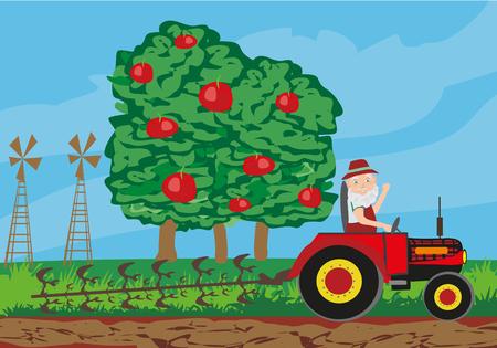 farmer plowing field Illustration