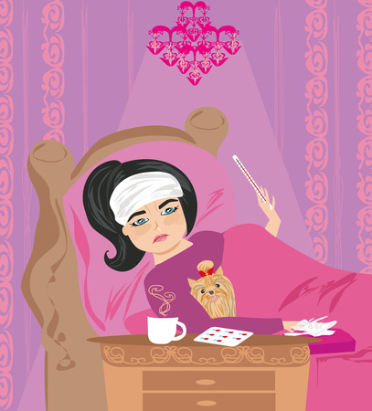 cold compress: sick girl lying in bed