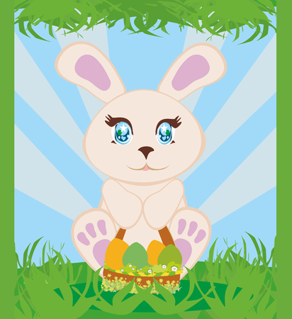 Greeting Card with Easter bunny Illustration