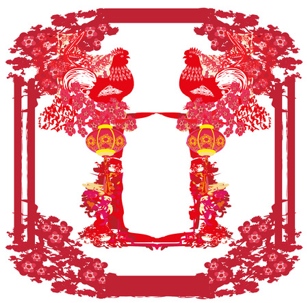 year of rooster - New Year greeting card design Illustration