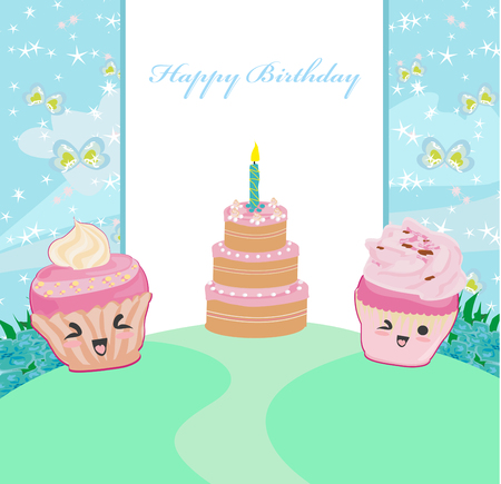 illustration of cute cupcakes  - Happy Birthday Card