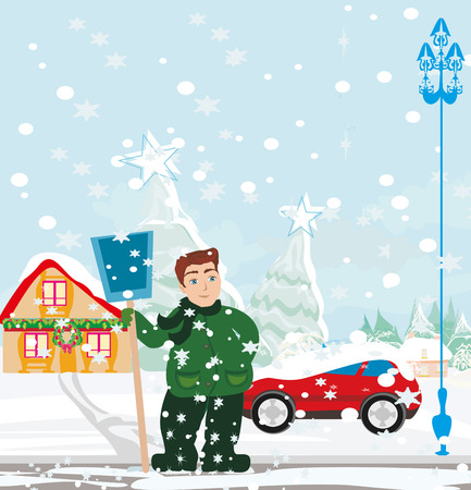 shoveling: Man shoveling snow