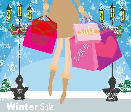 zapatos caricatura: Shopping girl sale card, close-up of legs Vectores