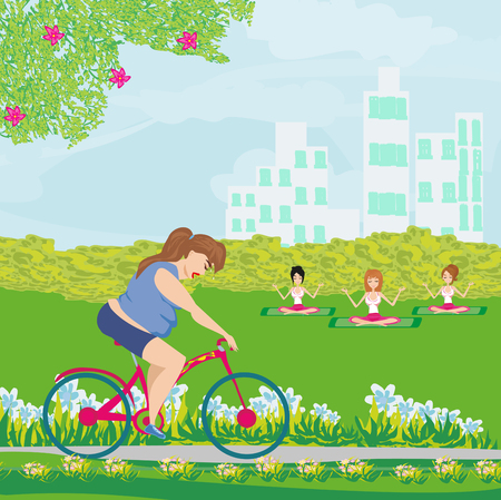Overweight woman ride on bike Illustration