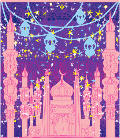 Ramadan design - mosque illustration card