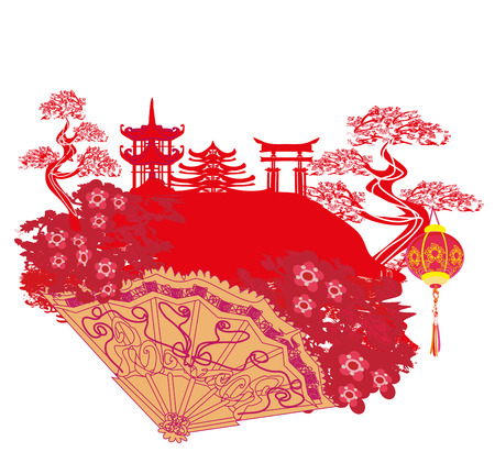 chinese new year card: Chinese landscape and beautiful fan Illustration