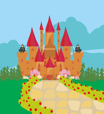 Army guarding castle on top wall Illustration