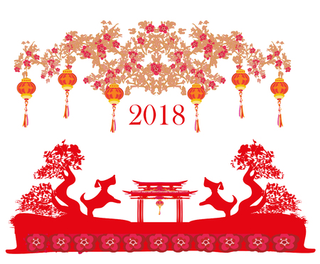 Happy Chinese new year 2018 card, year of the dog  イラスト・ベクター素材