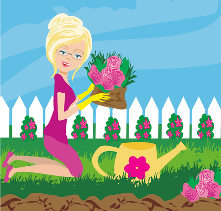 Woman plant flowers in the garden