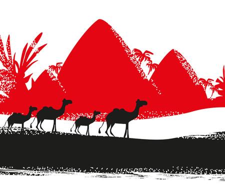 Camel caravan in wild africa