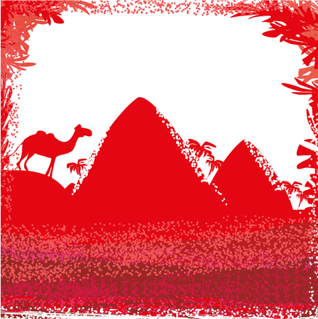 cheops: Camel  in wild africa - abstract card