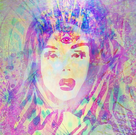 third eye: Woman with third eye, psychic supernatural senses