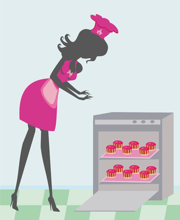 woman baking sweet muffins