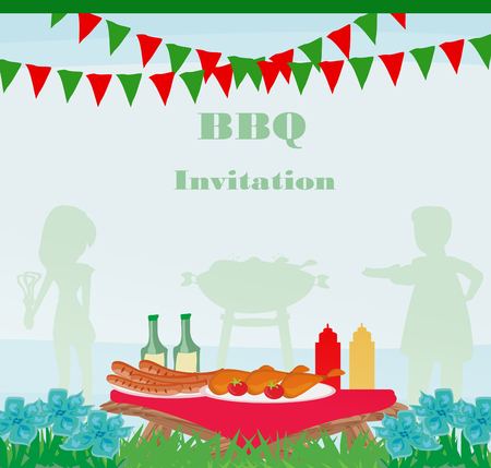 hot couple: Barbecue Party Invitation Illustration