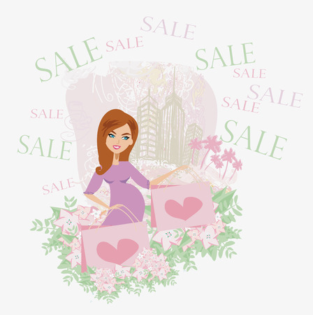 Beautiful pregnant woman - shopping card