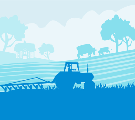 Rural landscape - tractor and cows