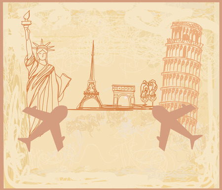 Travel design with different monuments Illustration