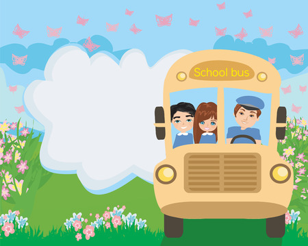 School bus with happy children Illustration