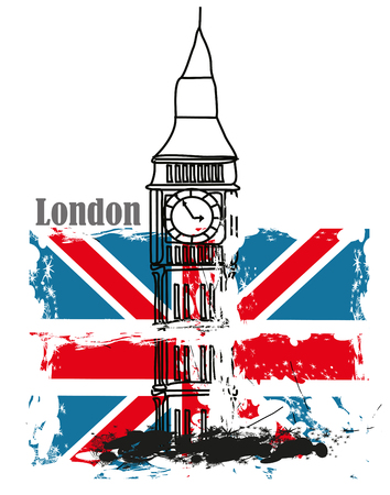 bigben: grunge Banner - i love London
