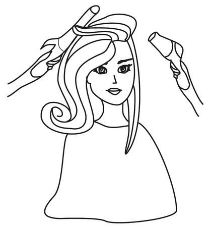 curler: Beautiful woman in hairdressing salon - doodle Illustration Illustration