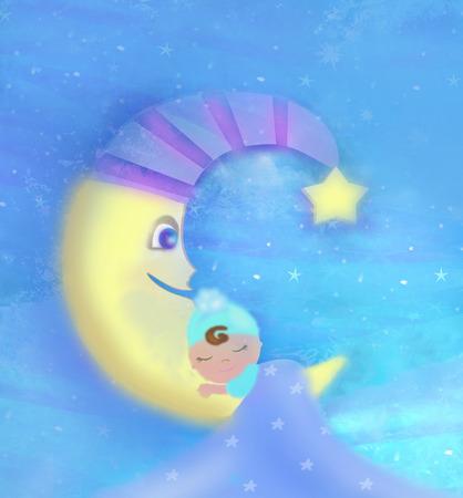 Cute little babe sleeping on moon
