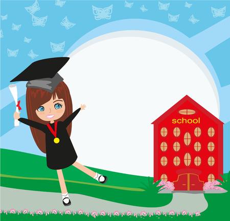i i  i i toga: Graduación de la escuela-universidad - muchacha